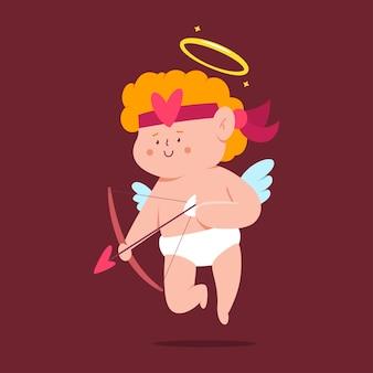 Cupido fofo com personagem de desenho animado de arco e flecha isolado no fundo.