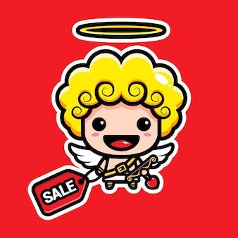 Cupido fofo segurando cupons de desconto