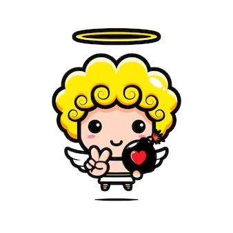 Cupido fofo segurando uma bomba do amor