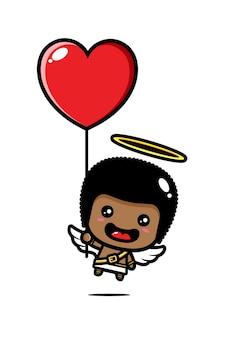 Cupido fofo voando com balão de coração