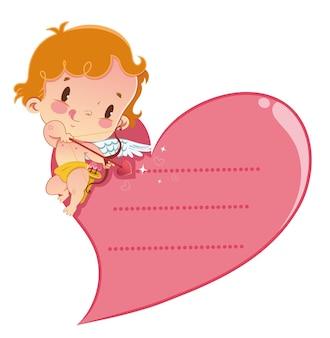 Cupido tem uma ilustração de mensagem para o dia dos namorados