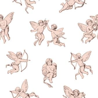 Cupidos de padrão uniforme segurando arcos e atirando flechas