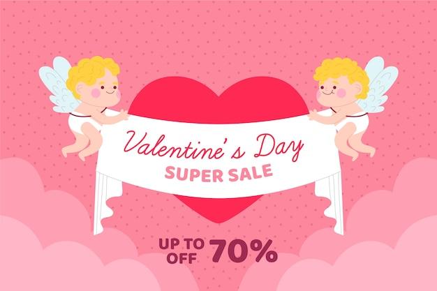 Cupidos segurando fita com ofertas de venda do dia dos namorados
