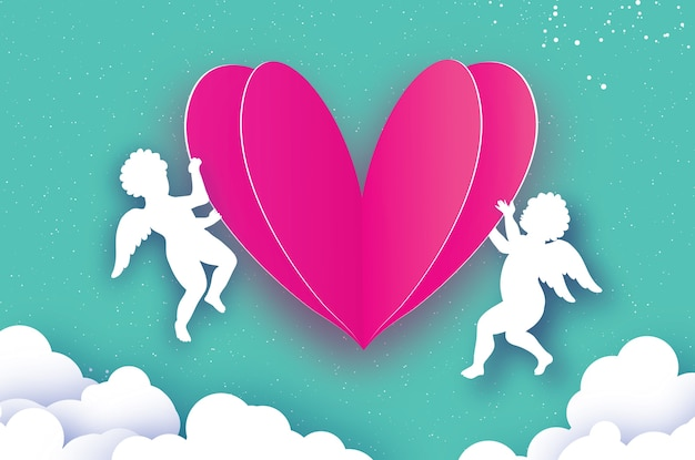 Cupidos voadores - amur angels com love pink heart no estilo corte de papel