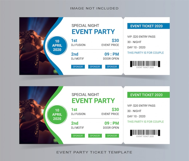 cupom de convite de modelo de bilhete de festa de evento vazio