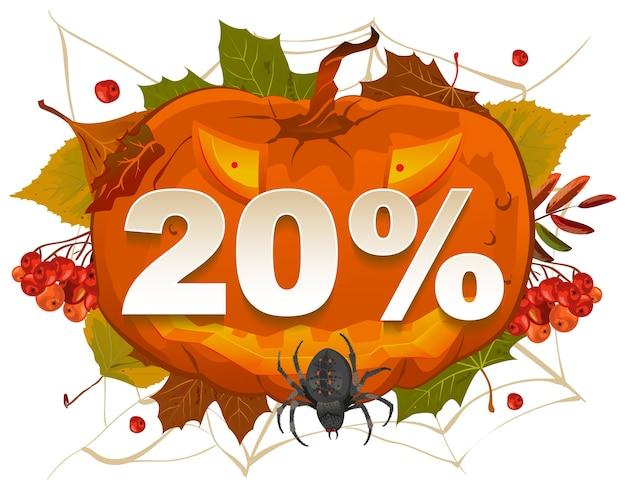 Cupom de desconto de 20% no halloween. venda de abóbora de halloween.