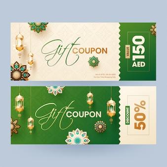 Cupom de presente ou coleção de layout de voucher com desconto diferente