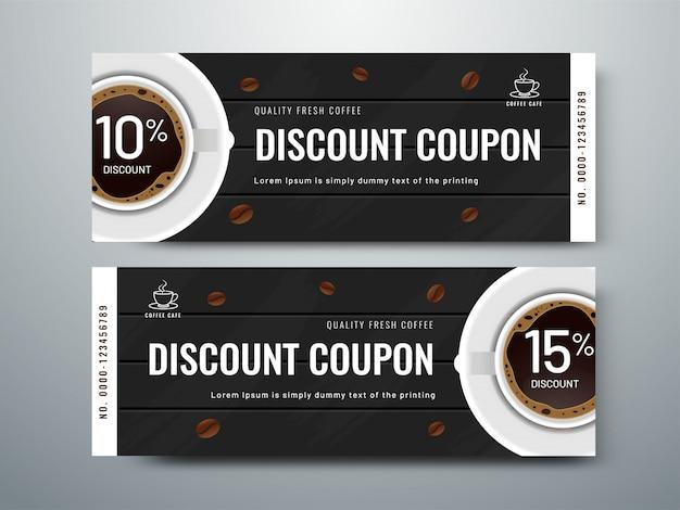 Cupom de publicidade promocional de café ou voucher.