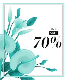 Cupom de setenta por cento de venda final com hortelã calla lily e frame.