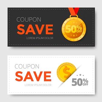 Cupom de venda com medalha de ouro e moeda.