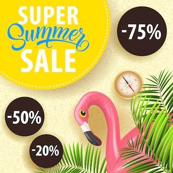 Cupom de venda super verão com folhas tropicais, tubo de mergulho flamingo, bússola
