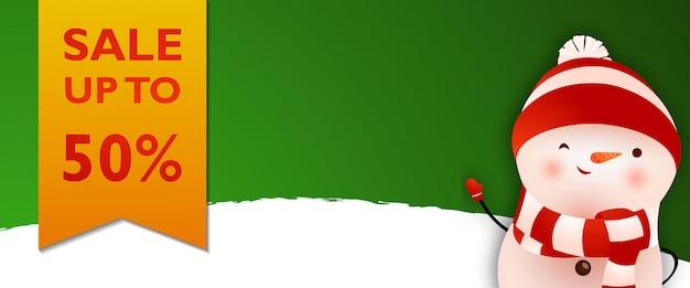 Cupom de venda verde com boneco de neve dos desenhos animados