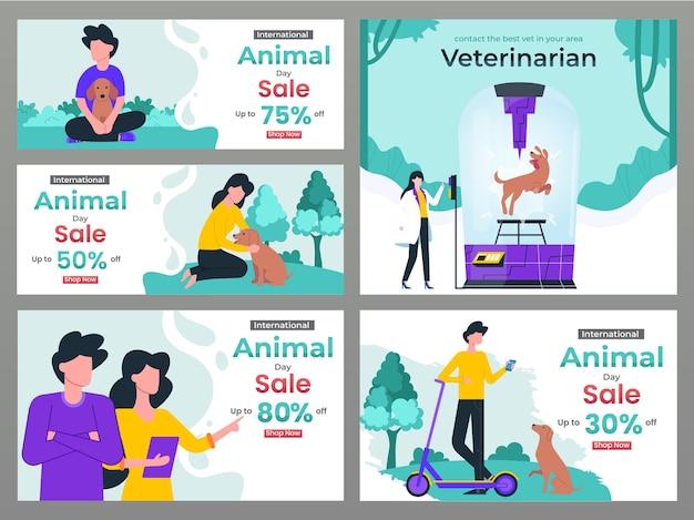 Cupom e pôster do dia internacional do animal