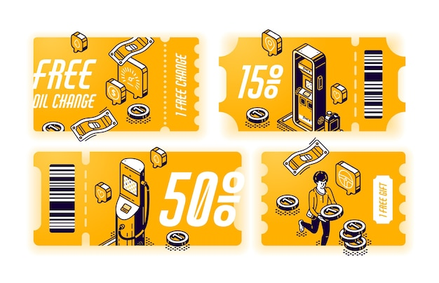 Cupons amarelos para troca gratuita de óleo, vouchers com brinde ou desconto no serviço do carro. conjunto de certificados com ilustração isométrica de posto de gasolina. bilhetes com oferta de manutenção de veículos
