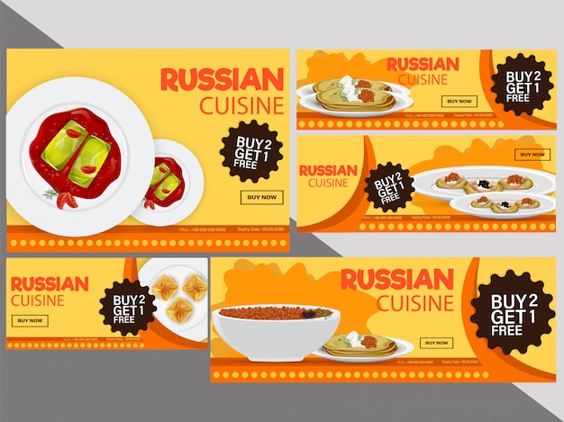Cupons de desconto de cozinha russa ou coleção de vales