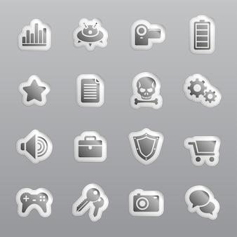 Cupons e adesivos. ícones cinza para web.