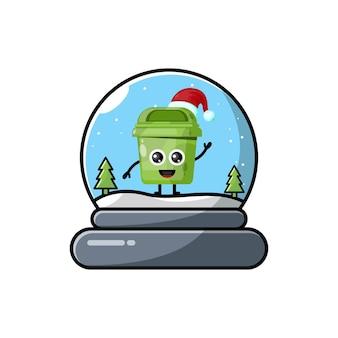 Cúpula da caixa de lixo com logotipo bonito do personagem de natal