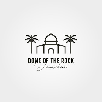 Cúpula da rocha logotipo mínimo vetor símbolo ilustração design