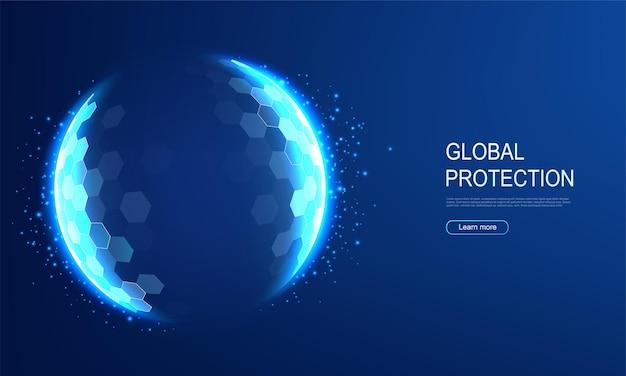 Cúpula de energia protetora de energia, escudo sobre fundo azul. conceito de campo, proteção e segurança inviolável.