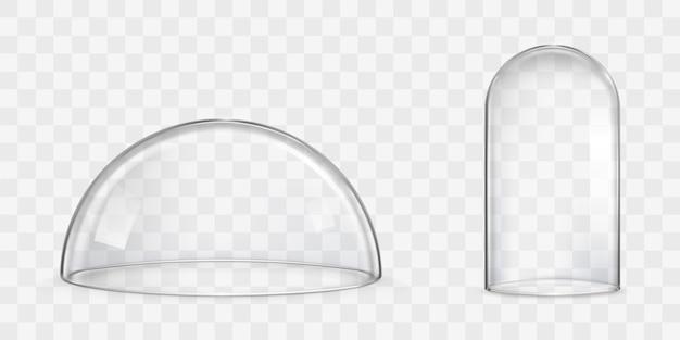Cúpula de vidro esférica, vetores realistas de redoma