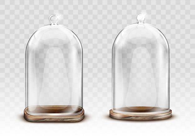 Cúpula de vidro vintage e bandeja de madeira realista