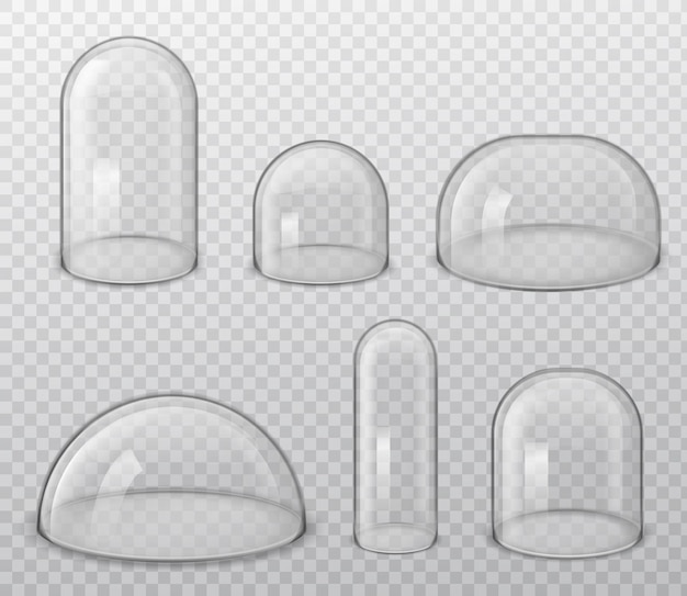 Cúpulas de vidro. forma brilhante realista esférica e hemisférica de vários tamanhos, laboratórios e caixas de exposição, vetor de capa protetora isolado em fundo transparente