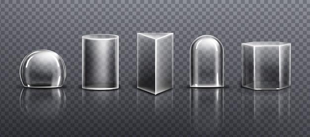 Cúpulas de vidro ou plástico transparente de diferentes formas isoladas em fundo transparente