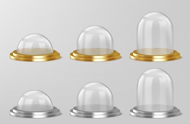 Cúpulas de vidro realistas, lembranças de globo de neve de natal, recipientes semi-esféricos de cristal isolados em prata
