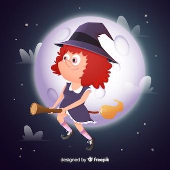 Cura bruxa de halloween com lua cheia