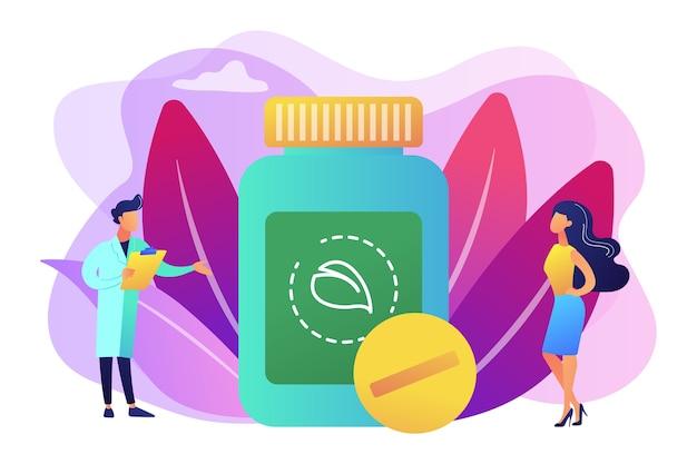 Cura holística. remédio natural para o tratamento de doenças. prática de medicina. homeopatia, medicina homeopática, sistema de conceito de medicina alternativa. ilustração isolada violeta vibrante brilhante