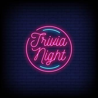 Curiosidades noite sinais de néon estilo texto