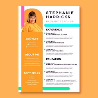 Currículo colorido engraçado da escola de professores