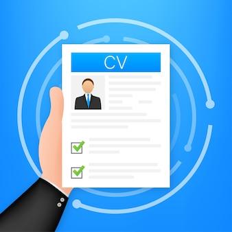 Currículo. conceito de entrevista de emprego. escrever um currículo. laptop com currículo pessoal. ilustração vetorial