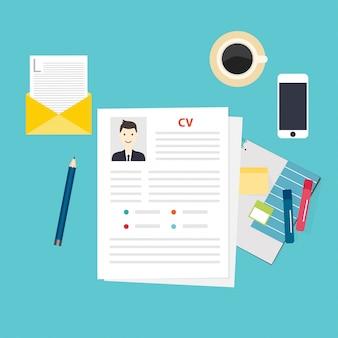 Currículo cv. conceito de entrevista de emprego. escrevendo um currículo.