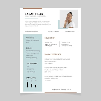 Currículo de construção de gerente de projeto duotônico minimalista