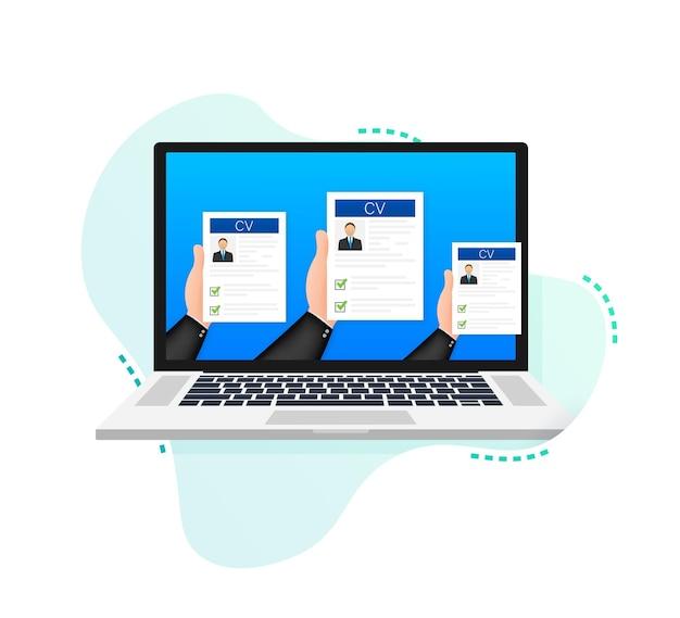 Currículo de currículo entrevista de emprego conceito escrevendo um currículo laptop com currículo pessoal