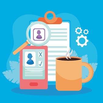Currículo de cv em documento de smartphone lupe e café