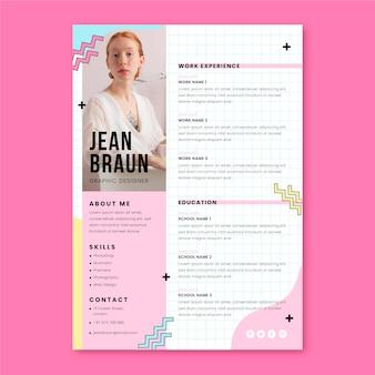 Currículo de design gráfico minimalista de memphis
