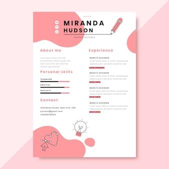 Currículo de design monocromático desenhado à mão