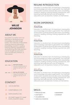 Currículo de modelo editável de cv feminino para iniciantes e profissionais