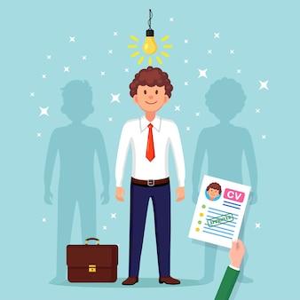 Currículo de negócios em mãos. contratação de candidato. entrevista de emprego, recrutamento, pesquisa de empregador