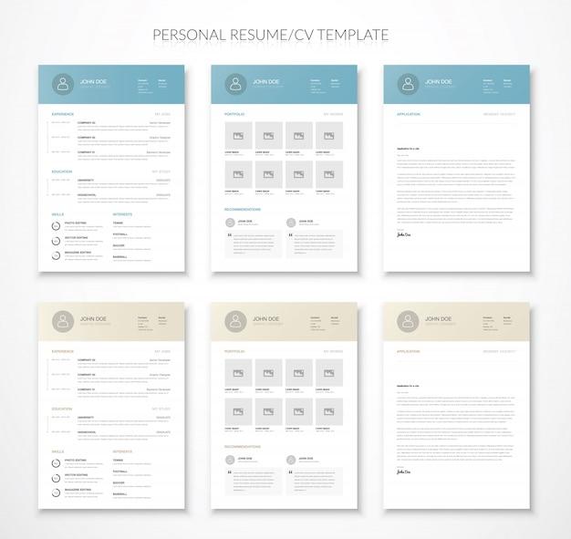 Currículo de negócios pessoal vitae e currículo vector duas cores