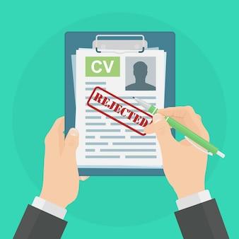 Currículo de negócios rejeitado. entrevista de emprego, curriculum vitae. recrutamento, contratação