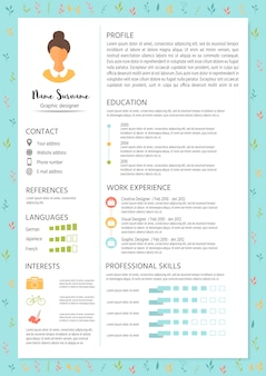 Currículo feminino com design infográfico. conjunto de cv elegante para mulheres.