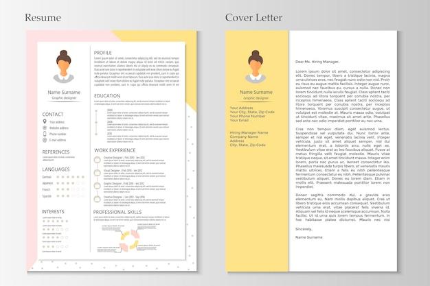 Currículo feminino e carta de apresentação com design infográfico. conjunto de cv elegante para mulheres. limpe o vetor.