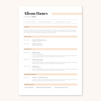 Currículo médico de enfermeira em formato minimalista e elegante do reino unido