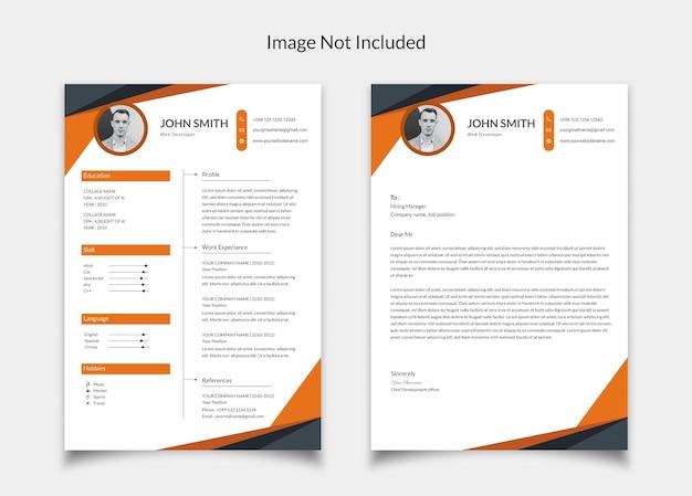 Currículo minimalista cv design com design de carta de apresentação