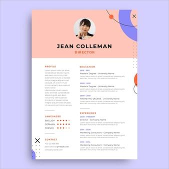 Currículo minimalista do diretor de jeans de memphis