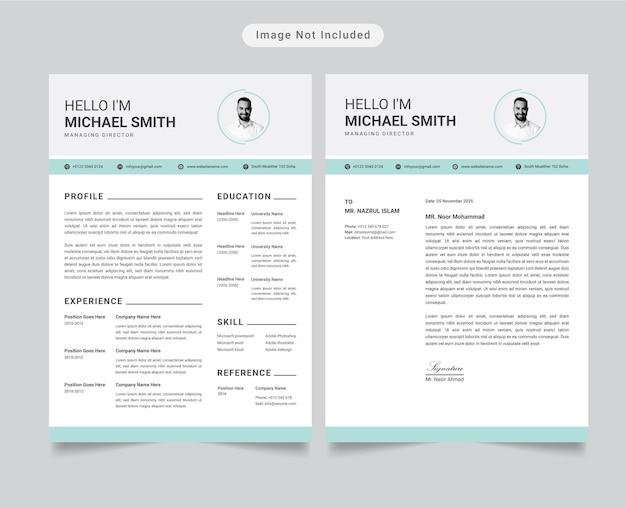 Currículo mínimo moderno ou perfil de currículo com modelo de carta de apresentação