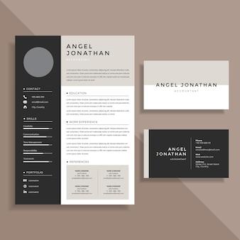 Currículo profissional cv e business card template design set